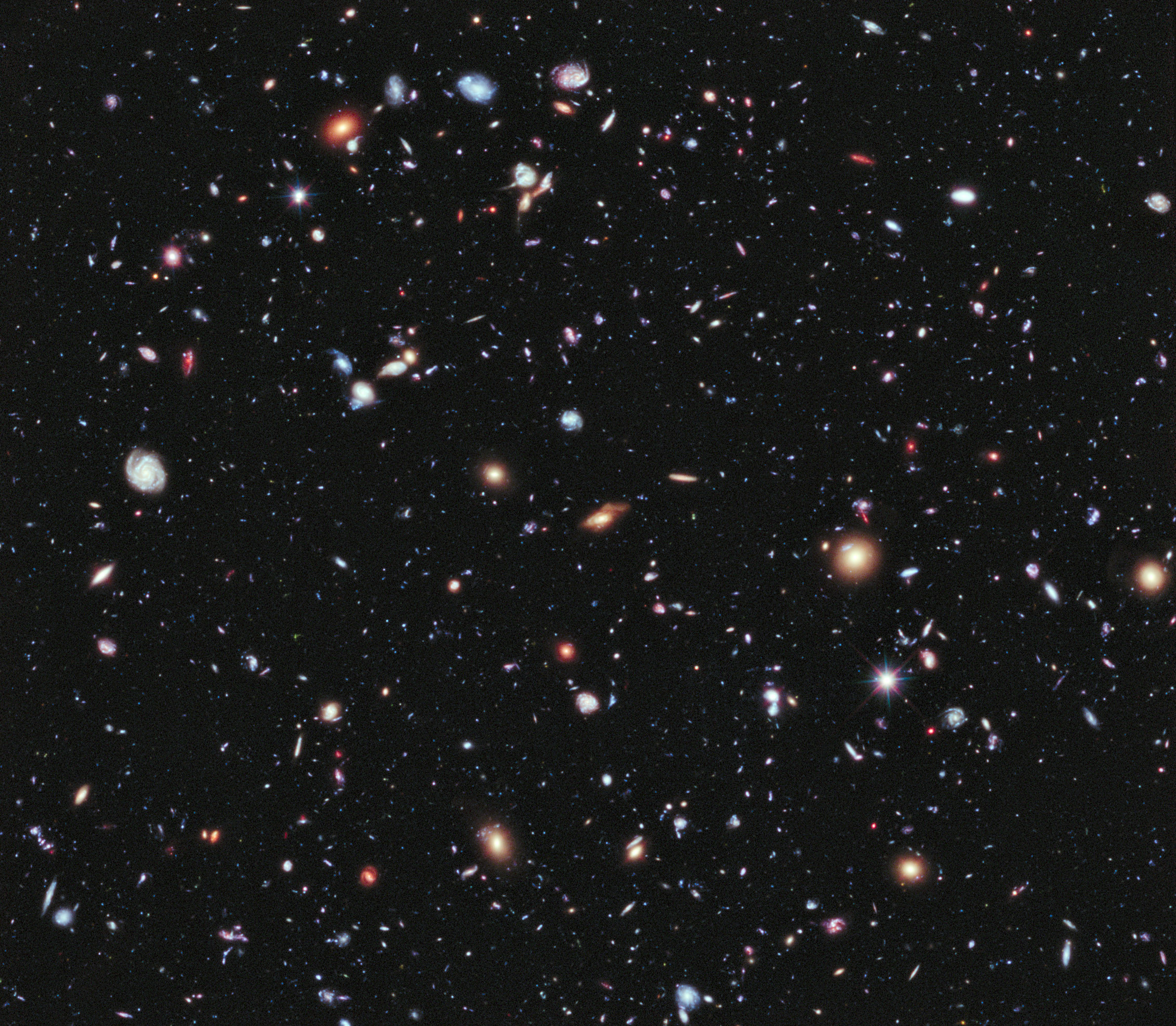 This Hubble extreme deep field image shows many galaxies outside the Milky Way.