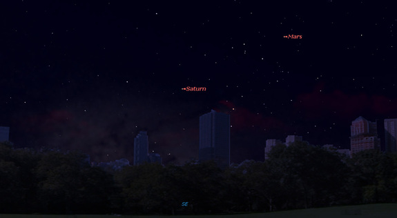 This sky map shows the location of Mars in the southeastern sky at 9 p.m. local time on May 30, 2016, when the planet will be at its closest to Earth in 11 years. Saturn will also be visible nearby, weather permitting.