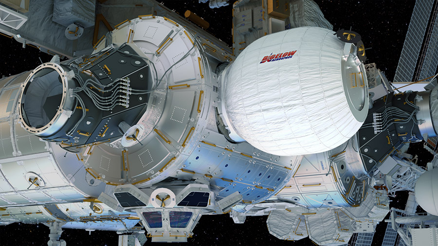 This artist's illustration shows the Bigelow Expandable Activity Module (BEAM) built by Bigelow Aerospace as it will appear once fully inflated on the International Space Station. NASA and Bigelow Aerospace will try to inflate the module on Saturday, May