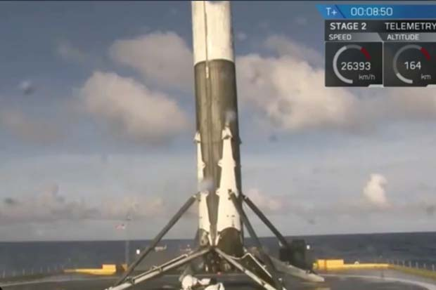 SpaceX Makes It Three In A Row - Lands First Stage On Droneship | Video
