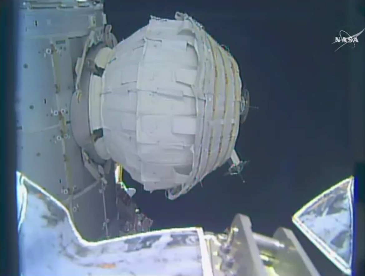 Inflatable BEAM Space Module Half Inflated on Space Station