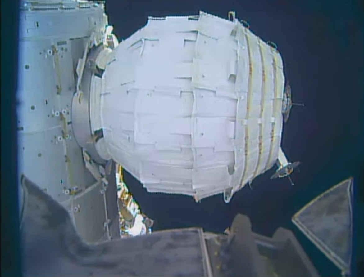 The inflatable Bigelow Expandable Activity Module is seen fully inflated on the International Space Station after being successfully expanded to its full size on May 28, 2016. The Bigelow Aerospace-built BEAM is a prototype space habitat for future space