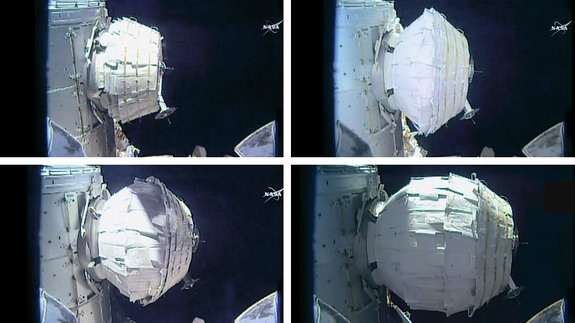 The inflation of the Bigelow Expandable Activity Module, a prototype space habitat, is shown in this series of images taken by a NASA camera on the International Space Station during expansion operations on May 28, 2016. The process took over seven hours.