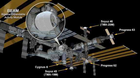 This NASA graphic shows the location of the inflatable Bigelow Expandable Activity Module on the International Space Station. The module will be tested for its effectiveness as a space habitat for two years.