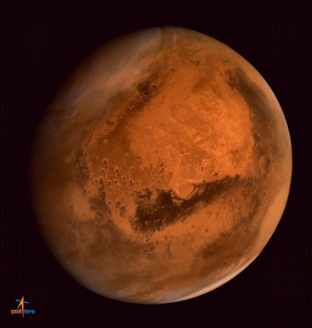 Mars in all its beauty as seen by the Indian Space Research Organization's Mangalyaan spacecraft in orbit around the Red Planet.