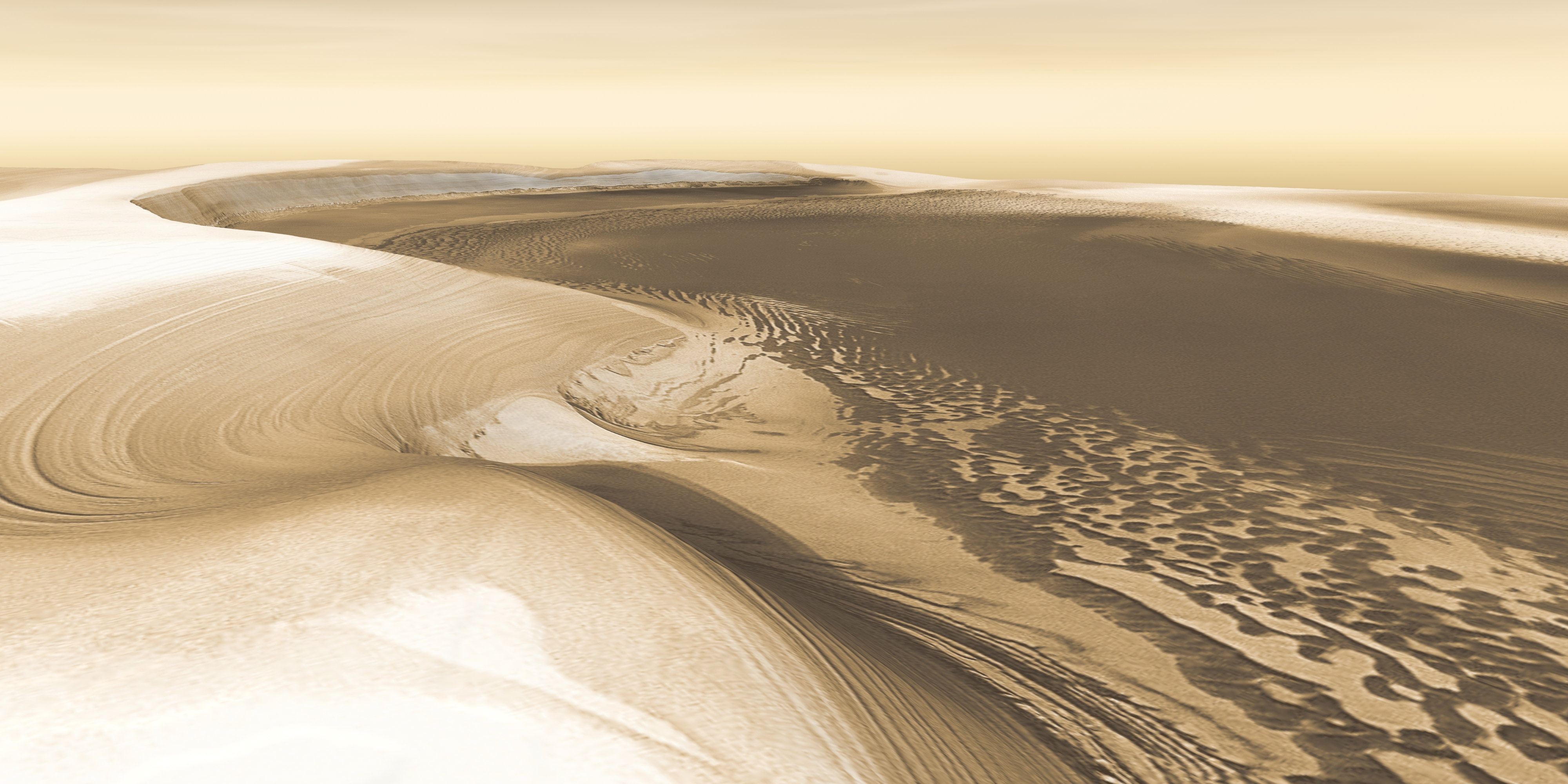 A 3D view of the north pole of Mars showing ice deposits.