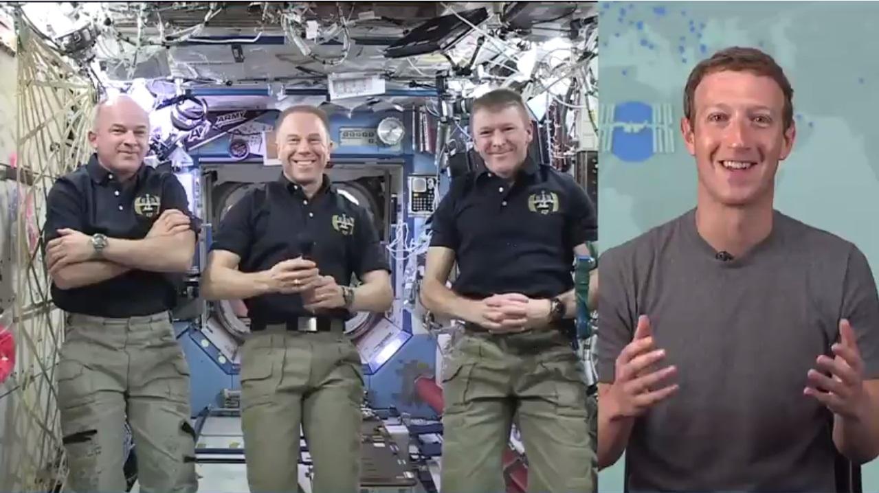 Astronauts Jeff Williams, Tim Kopra and Tim Peake talked with Mark Zuckerberg