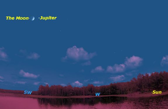 Saturday, June 11, sunset. Jupiter will be west of the waxing crescent moon at sunset.
