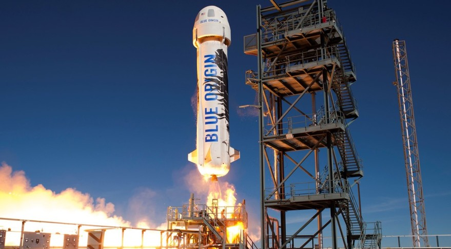Blue Origin's New Shepard suborbital vehicle lifting off