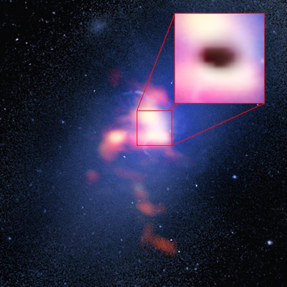 This combination picture of Abell 2957 includes a credentials picture taken by a Hubble Space Telescope and a red forehead picture from a ALMA radio telescope display a placement of CO monoxide gas in and around a Abell 2597 Brightest Cluster Galaxy. The pull-out box shows a shade of a galaxy's supermassive black hole, that appears to be eating cold clouds of molecular gas.