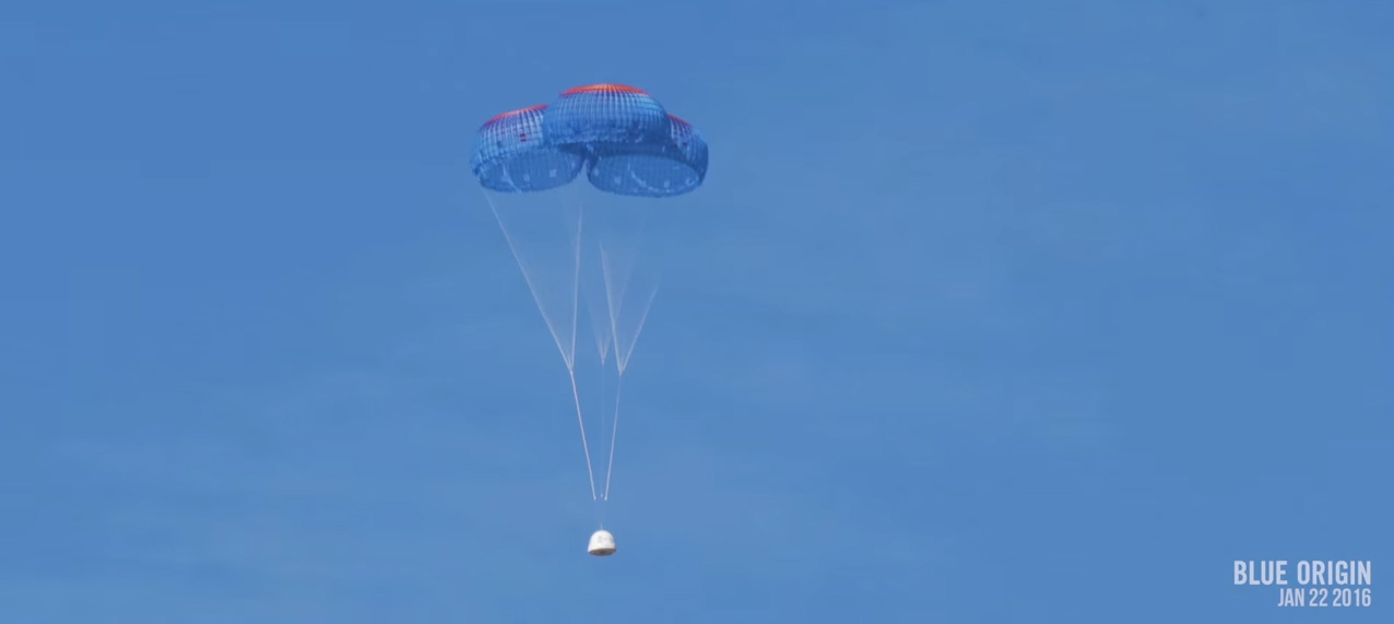 Blue Origin's New Shepard Capsule Under Parachutes