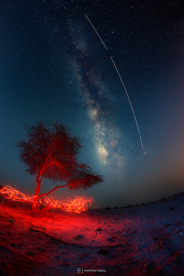 ISS Parallel to Milky Way from Qatar