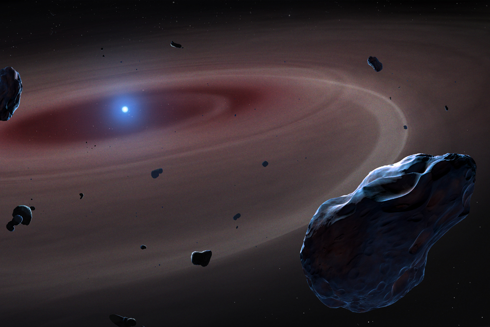 Artist's depiction of dying white-dwarf star destroying its planetary system