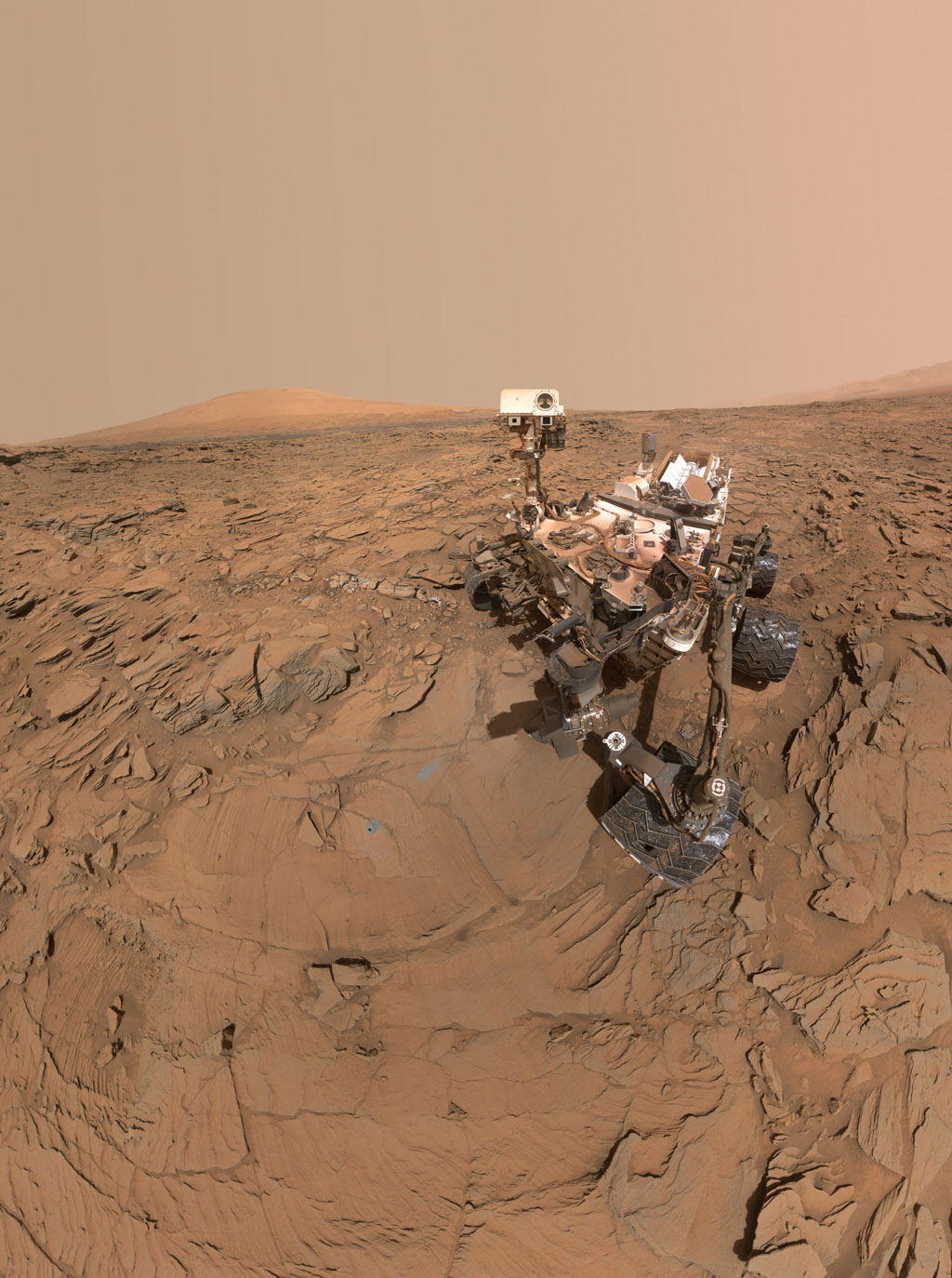 Mars Rover Curiosity Self-Portrait at 'Okoruso' Drill Site