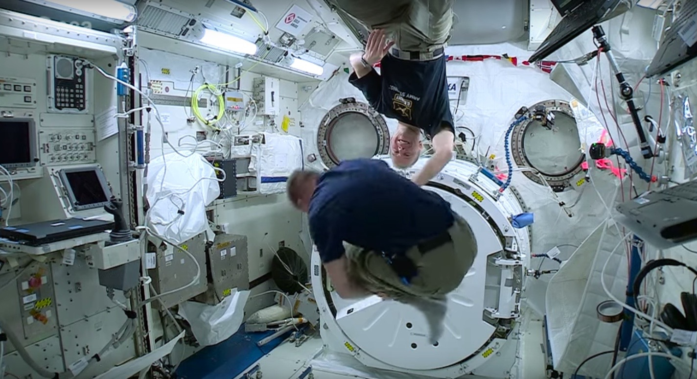 ESA Astronaut Tim Peake Does Somersaults