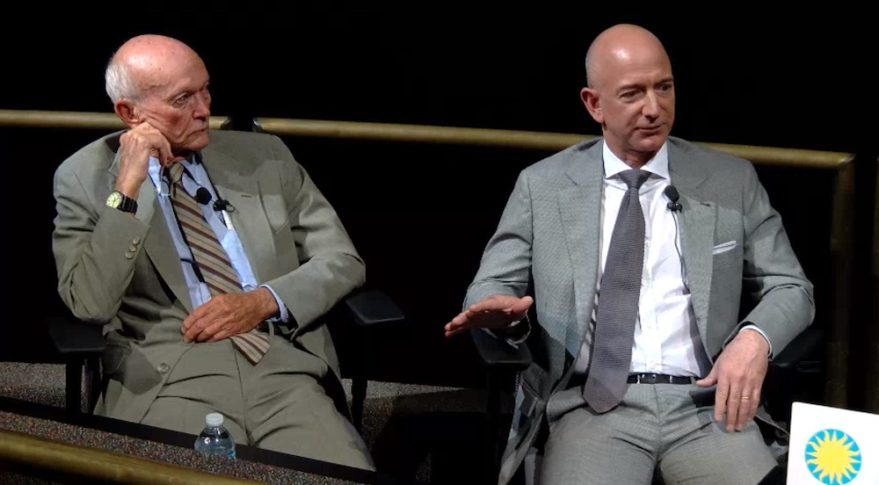 Astronaut Michael Collins and Jeff Bezos of Blue Origin