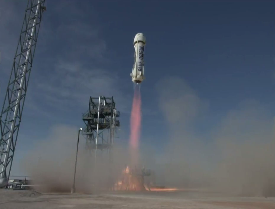 Blue Origin's New Shepard reusable rocket launches on its fourth test flight.