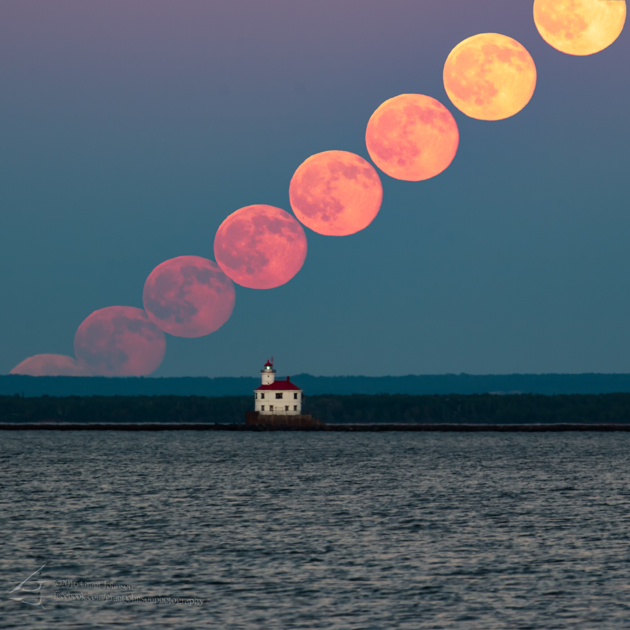 A series of shots of the full moon on June 20, 2016, taken from Duluth, Minnesota's Park Point beach. The Superior Entry Lighthouse can be seen in the foreground.