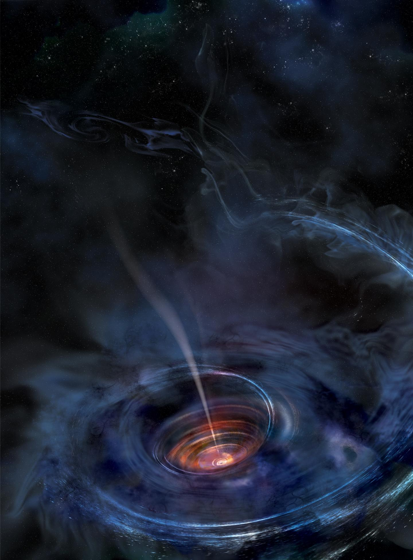 In this artist's rendering, a disk of material has formed around a supermassive black hole after a star was shredded by the cosmic beast.  The material heats up as it falls toward the black hole, and flashes of X-ray light near the center of the disk resu