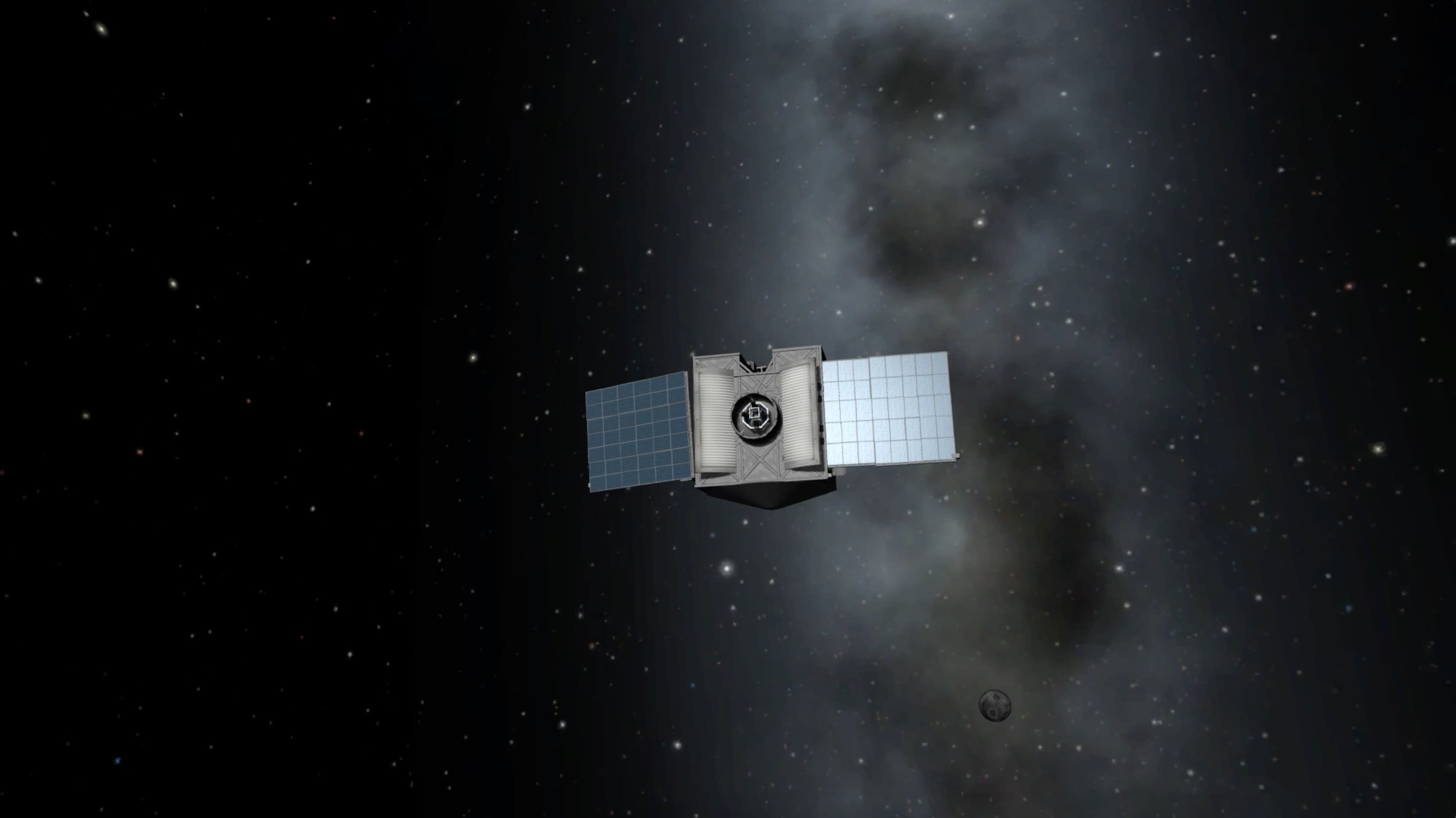 A virtual version of NASA's OSIRIS-REx mission spreads its solar panels