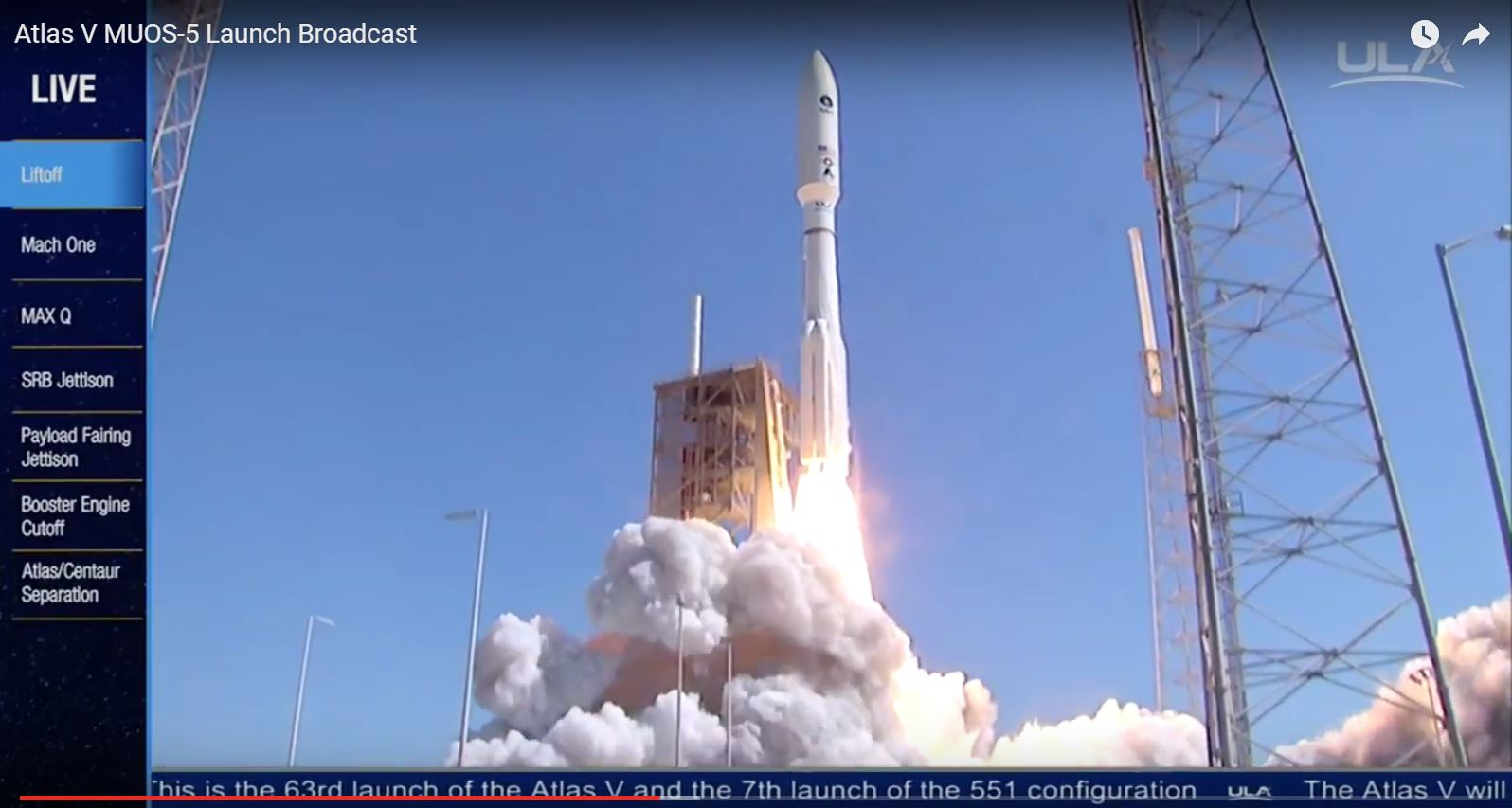 A ULA Atlas V rocket carried the MUOS-5 communication satellite into orbit on June 24 at 10:30 a.m. EDT (1430 GMT).