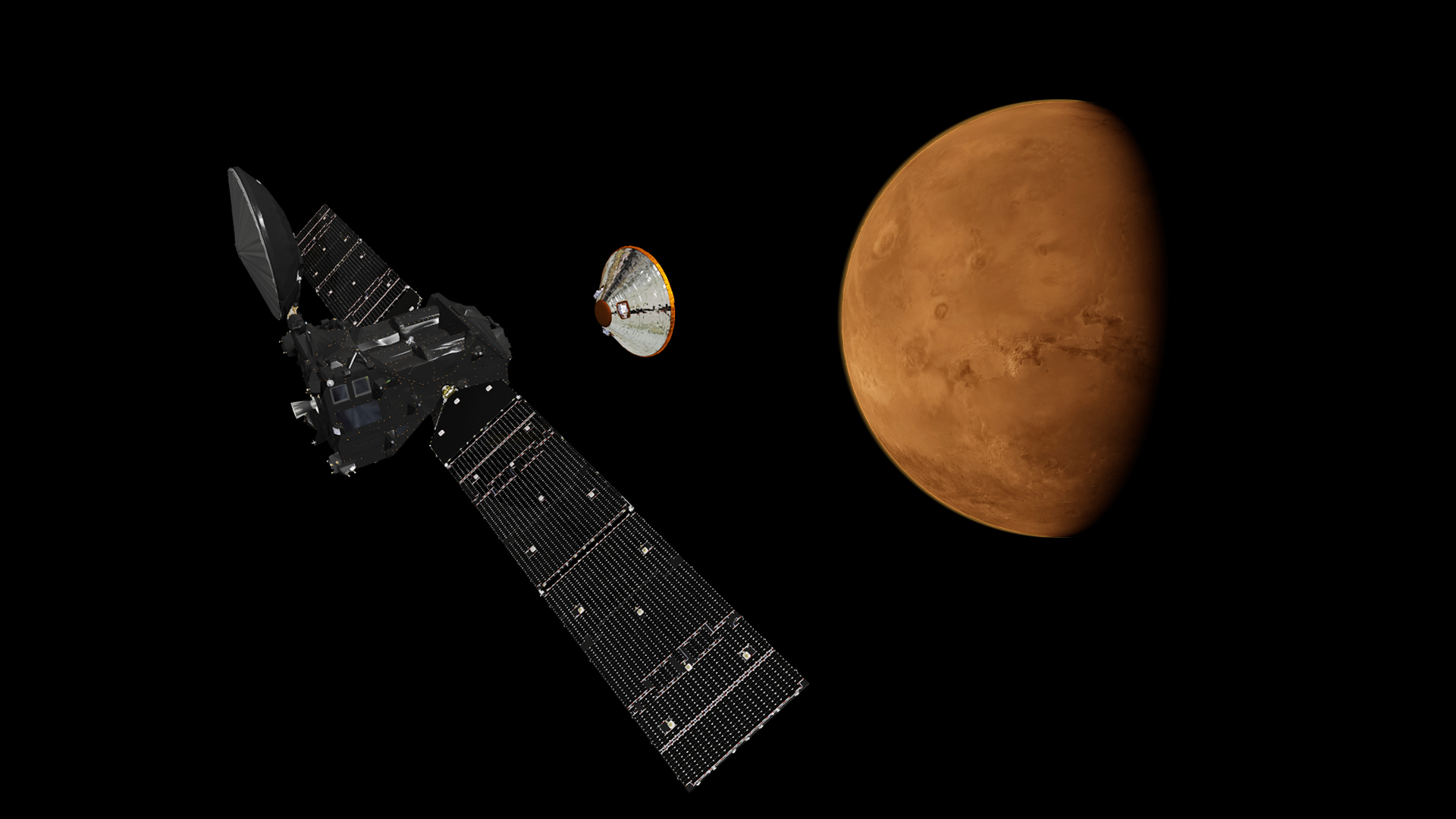 Artist's impression Europe's ExoMars 2016 Trace Gas Orbiter and Schiaparelli