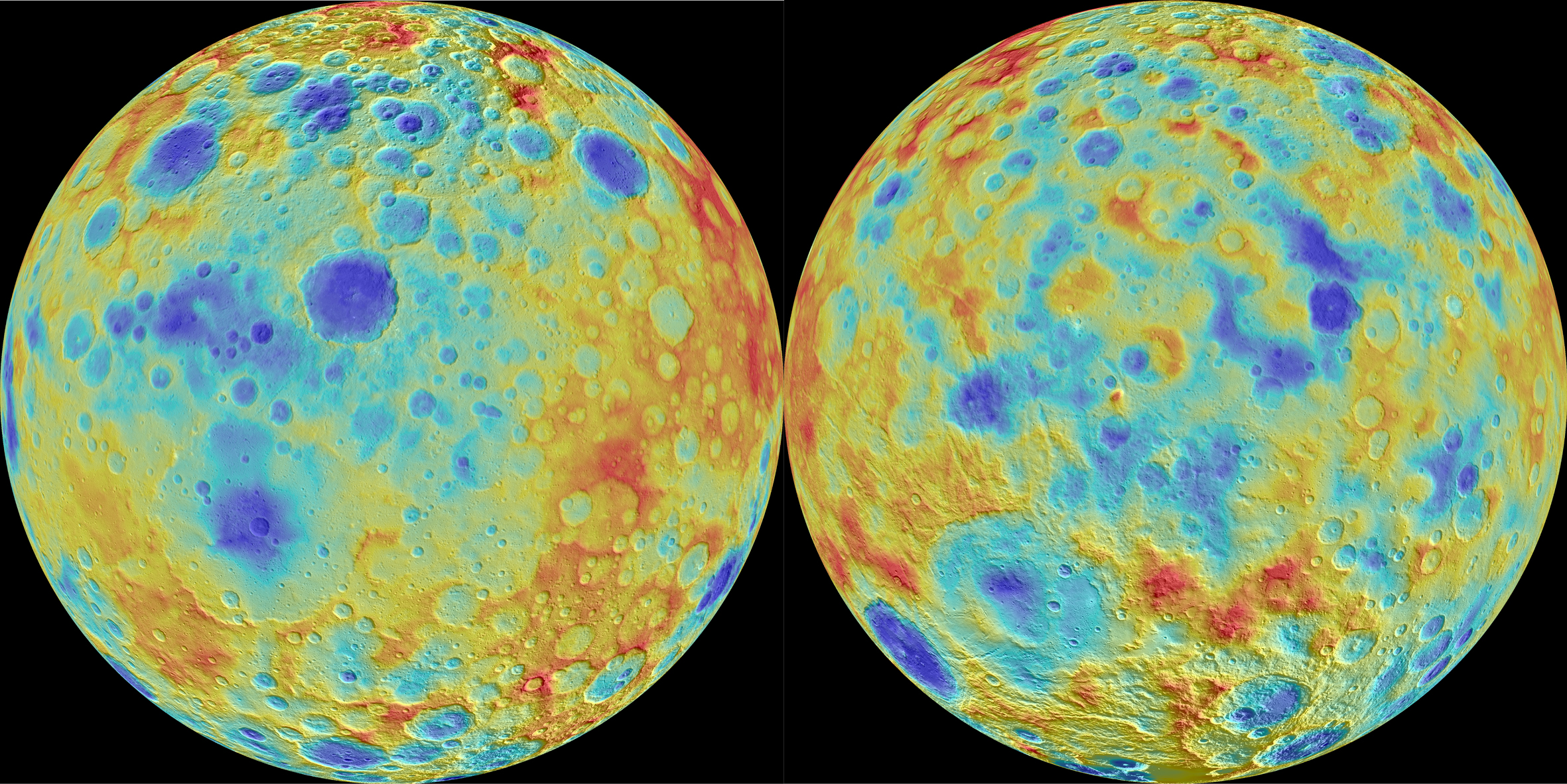 Rainbow topographic map of Ceres