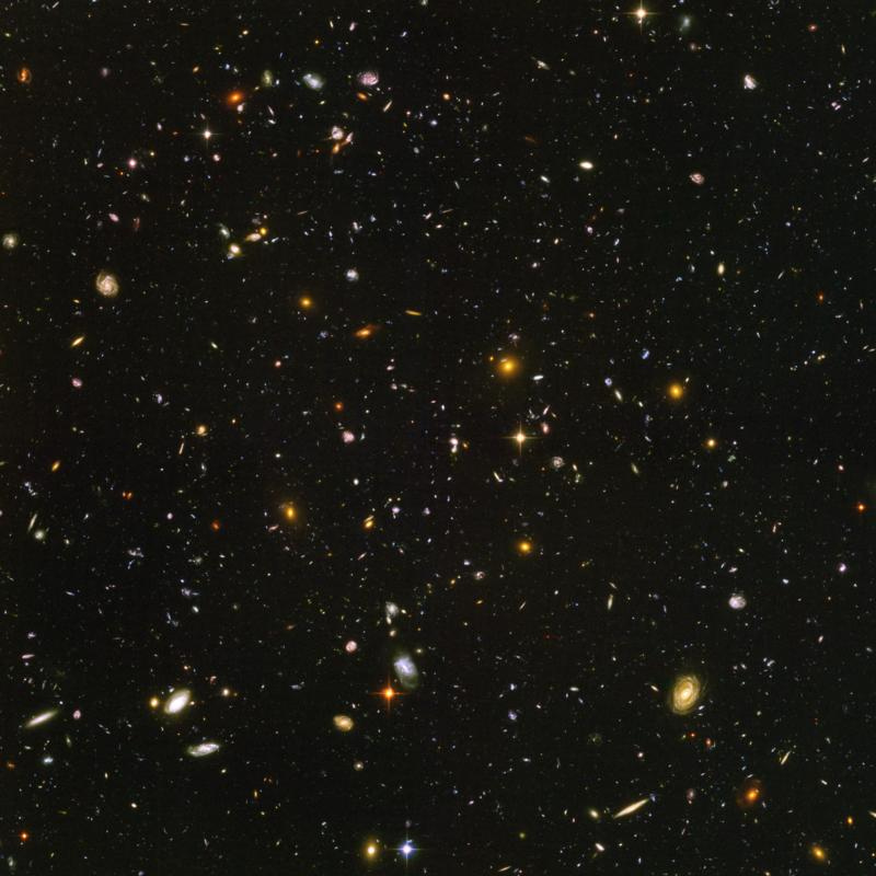 Hubble image of distant galaxies