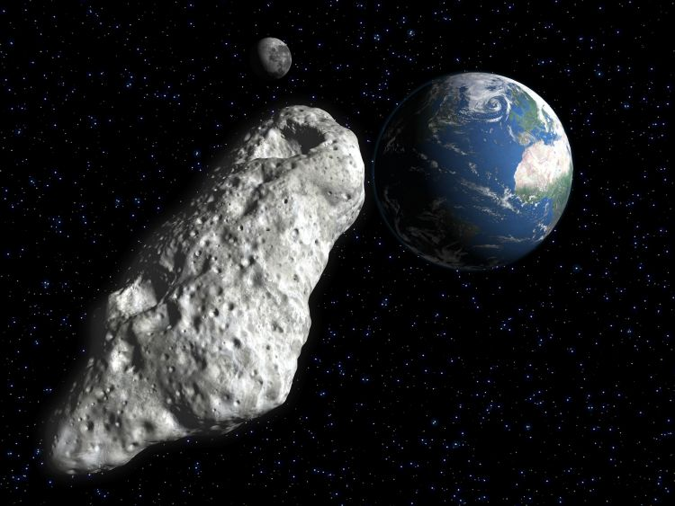Large asteroid hovers over Earth in illustration
