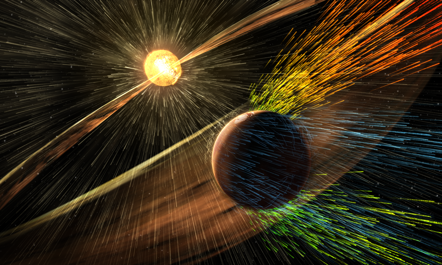 Artist's rendering of solar storm at Mars