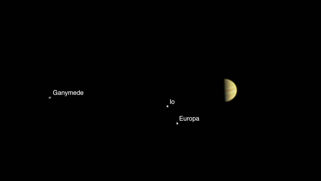 Juno Spots Jupiter, 3 Big Moons