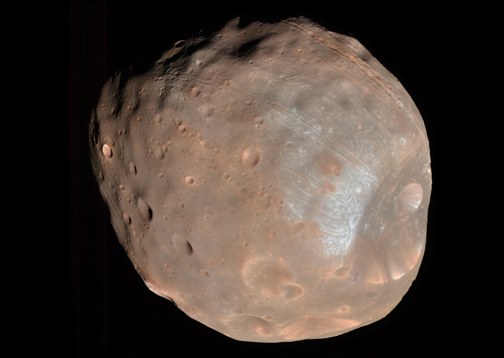 Mars' two moons, Phobos (shown here) and Deimos, may have formed from a ring of debris around the Red Planet. Larger moons formed in the same debris ring may have crashed into Mars.