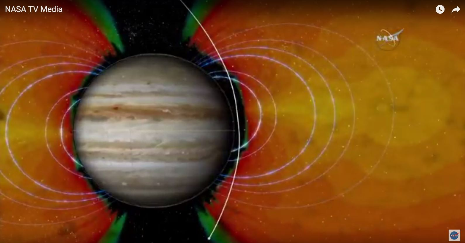 This illustration shows how the Juno probe (white line) will pass through the extremely intense radiation belt that surrounds Jupiter.