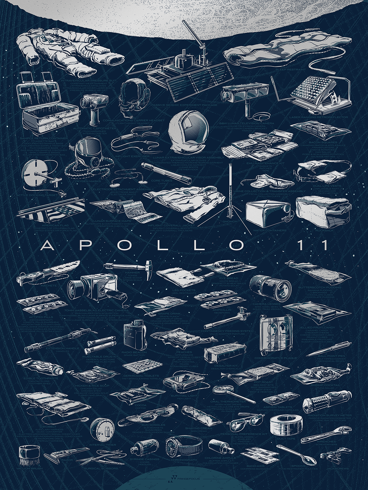 This illustrated poster by Rob Loukotka features a list of more than 200 items taken to the moon on Apollo 11, and 69 illustrations of those items.