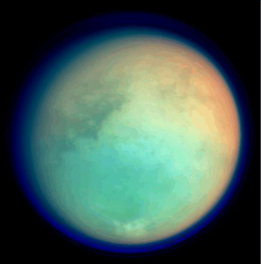 This image shows Titan in ultraviolet and infrared wavelengths. It was taken by Cassini's imaging science subsystem on Oct. 26, 2004, and is constructed from four images acquired through different color filters.