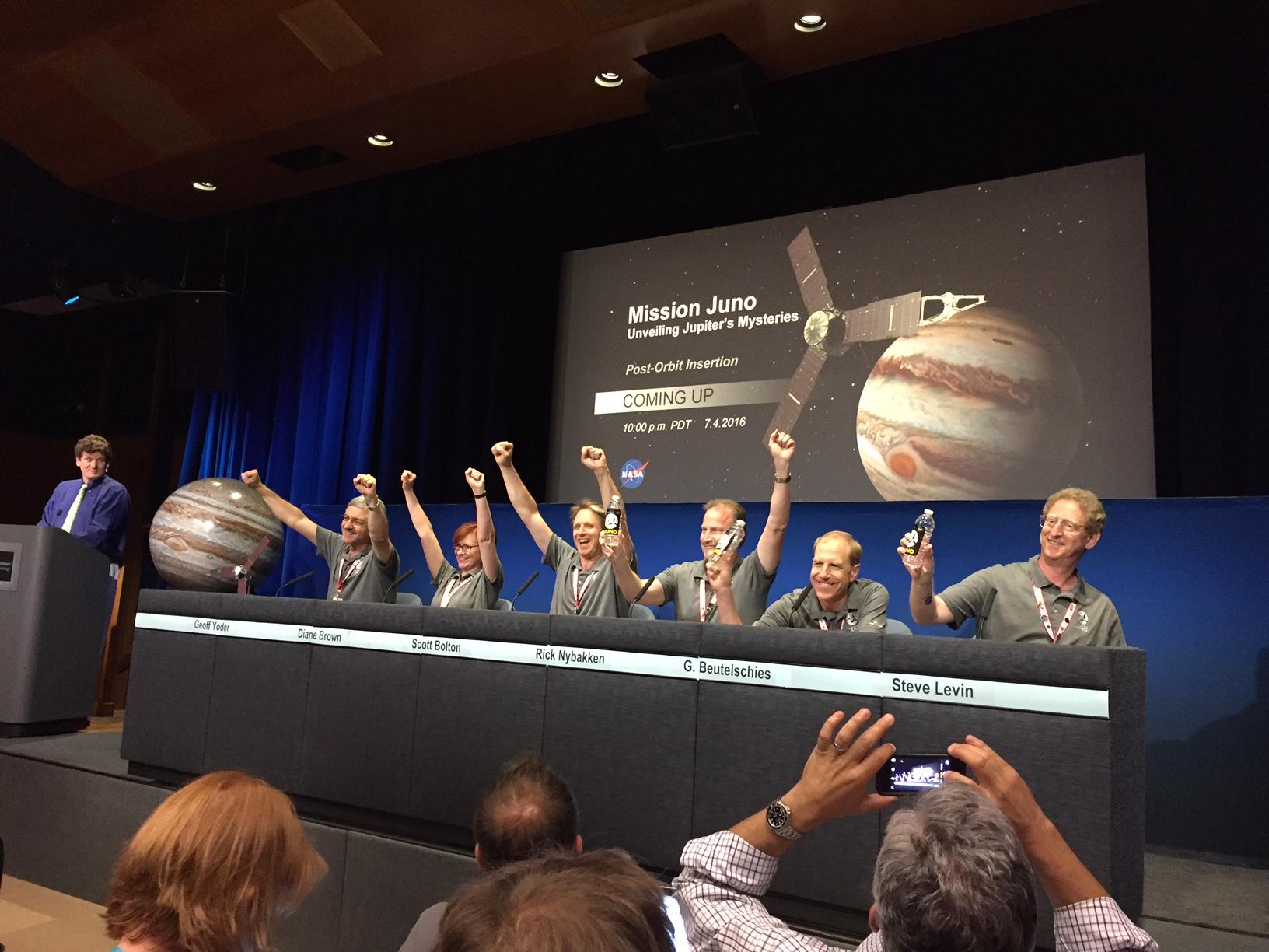 Juno Team Celebrates Jupiter Arrival, July 4, 2016