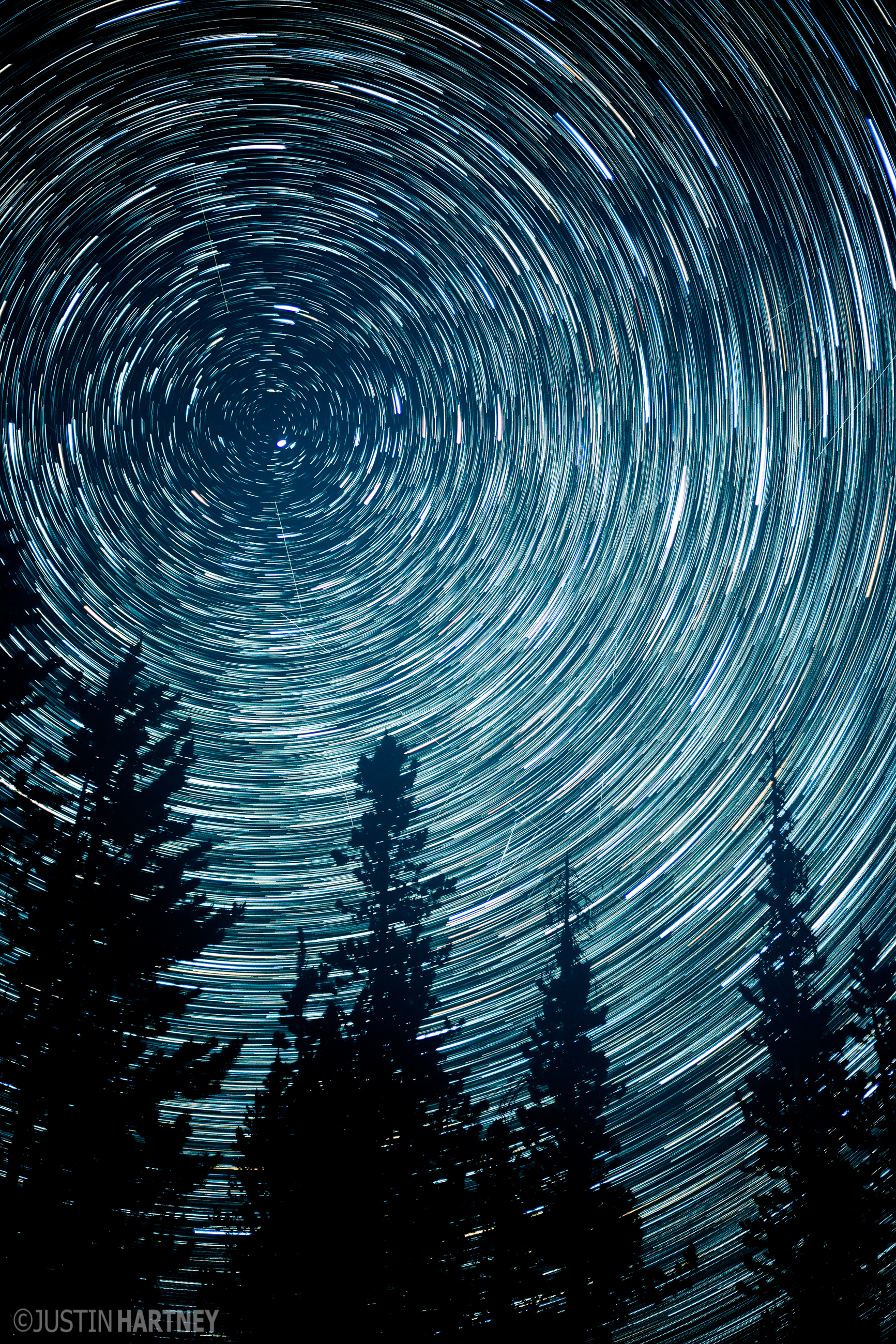 Circle Star Trails Over Oregon