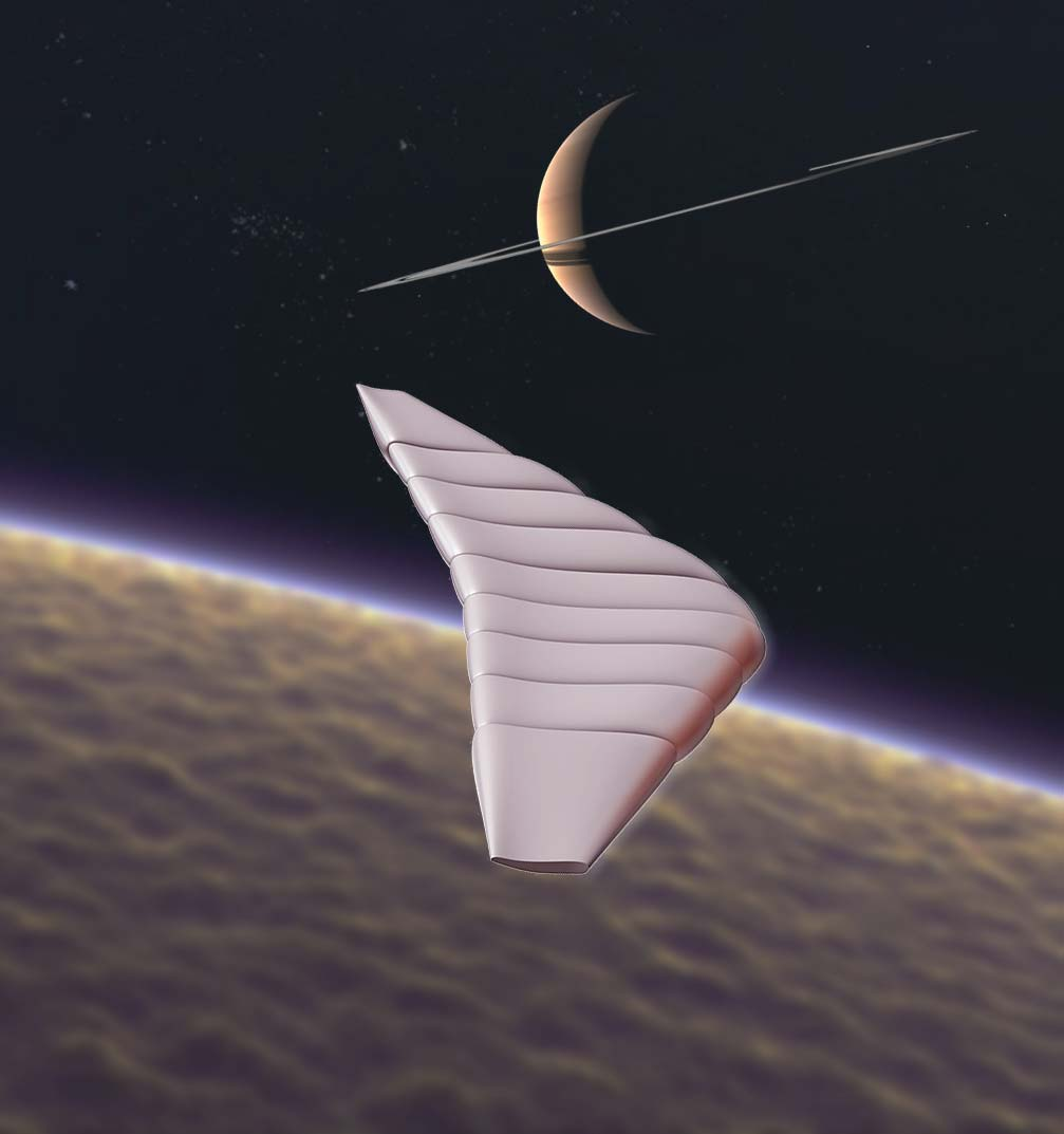 Conception of winged vehicle at Titan