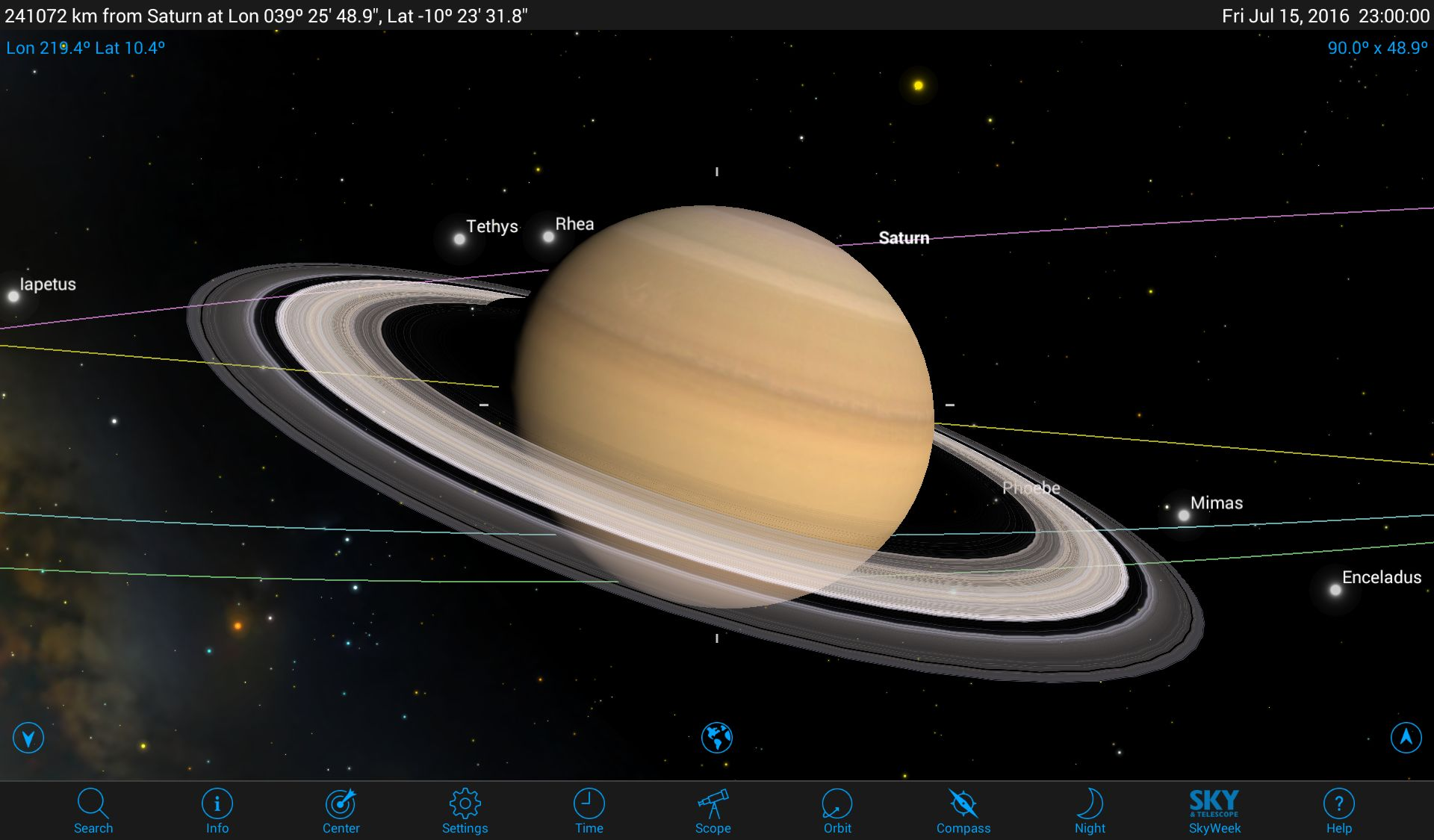 Exploring the Realm of Saturn with Mobile Astronomy Apps