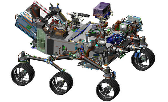This image is from computer-assisted-design work on the Mars 2020 rover, which will hunt for signs of past Red Planet life.