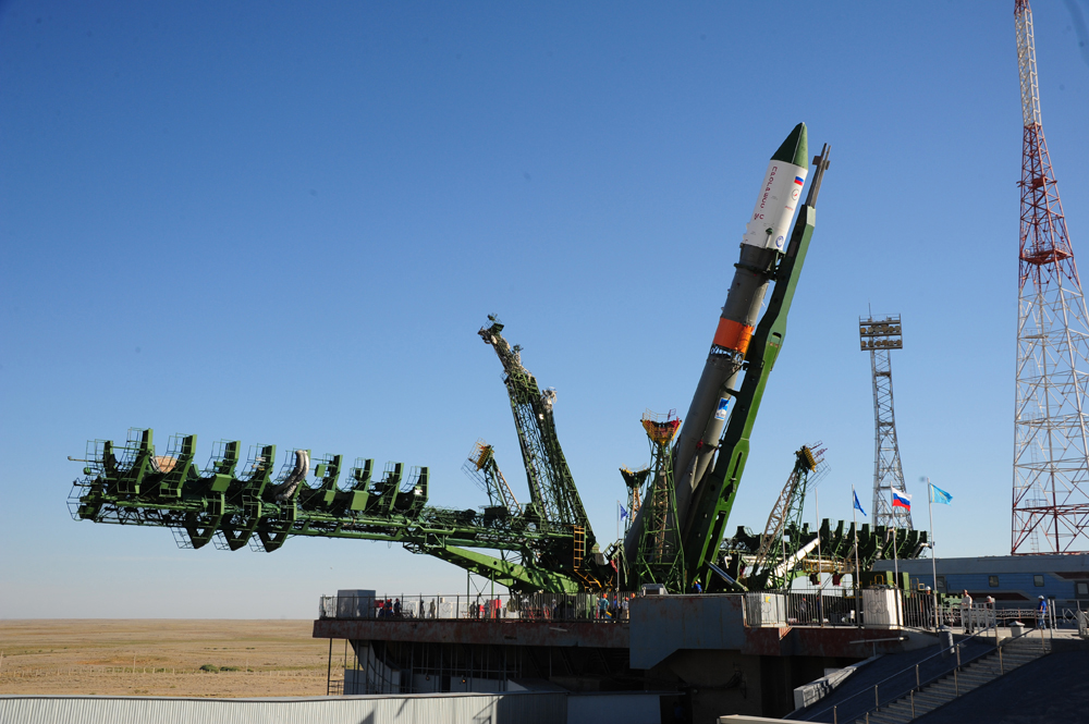 The Russian cargo ship Progress 64 and its Soyuz rocket are raised into launch position ahead of their planned July 16, 2016 launch from Baikonur Cosmodrome, Kazakhstan.