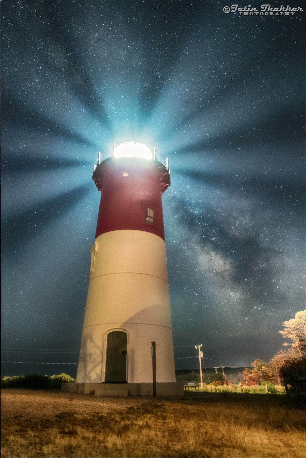 Milky Way Illuminated in Lighthouse Glow