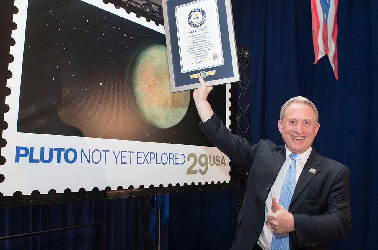 Pluto Stamp Aboard NASA's New Horizons Probe Sets Guinness World Record