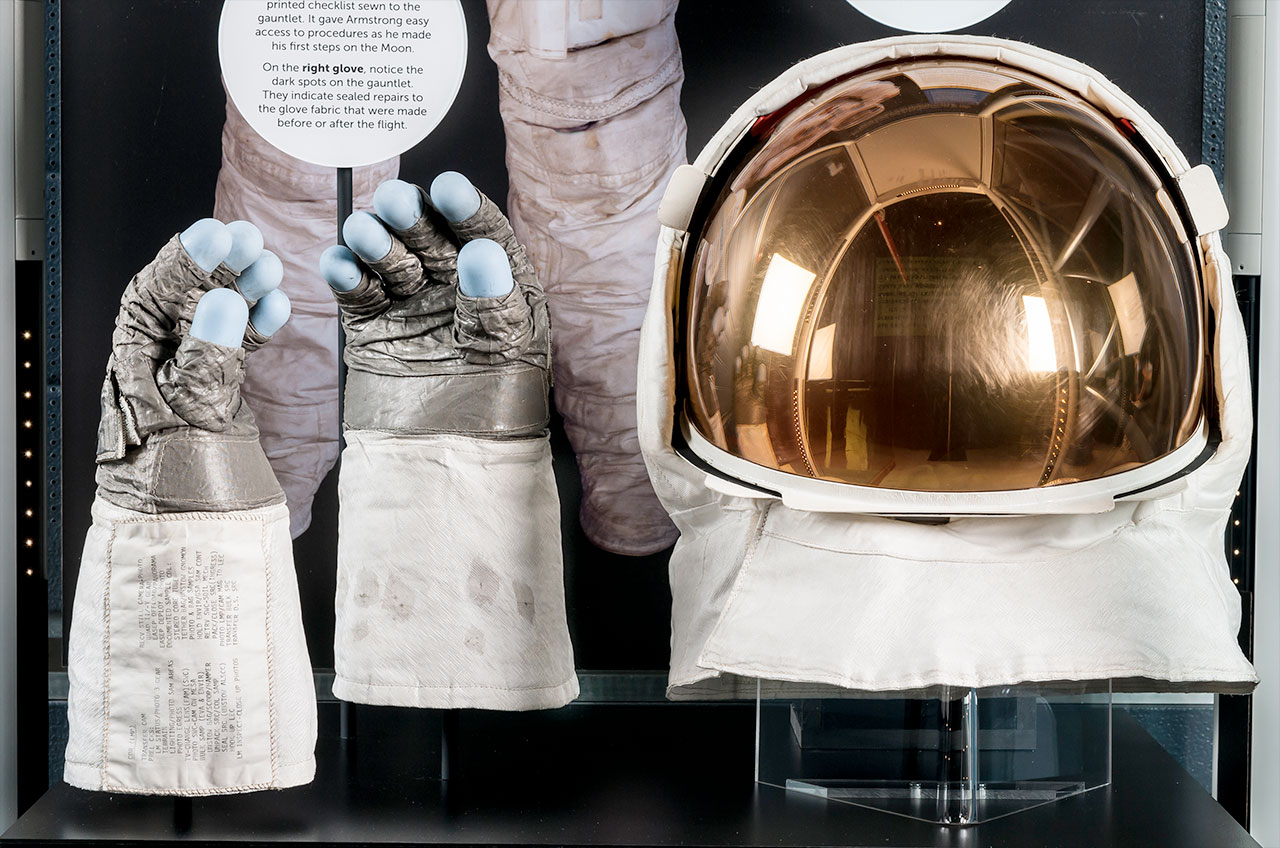 Neil Armstrong's Apollo 11 visor and gloves