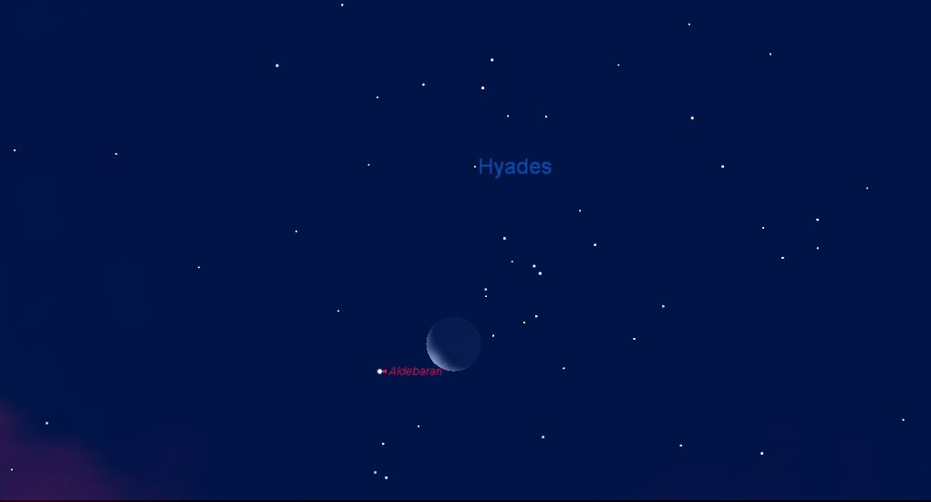 Moon 'Snuggles Up' to the Hyades (and Hides Aldebaran) Friday Morning