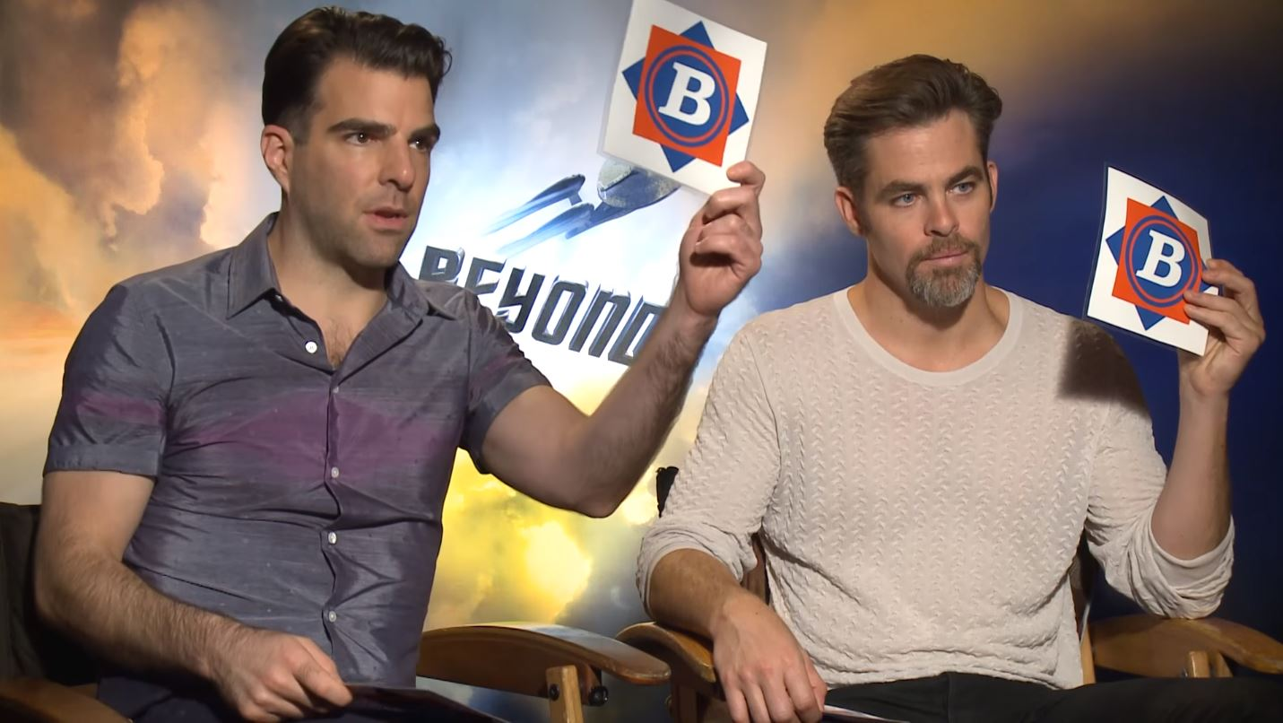 Capt. James T. Kirk (Chris Pine) and Commander Spock (Zachary Quinto) test their knowledge of NASA history and space terminology in a brief multiple-choice quiz.