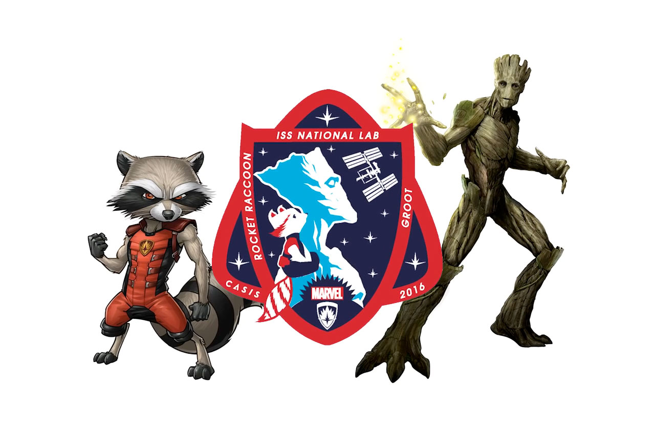 Marvel's Rocket Raccoon and Groot Star on Space Station Mission Patch