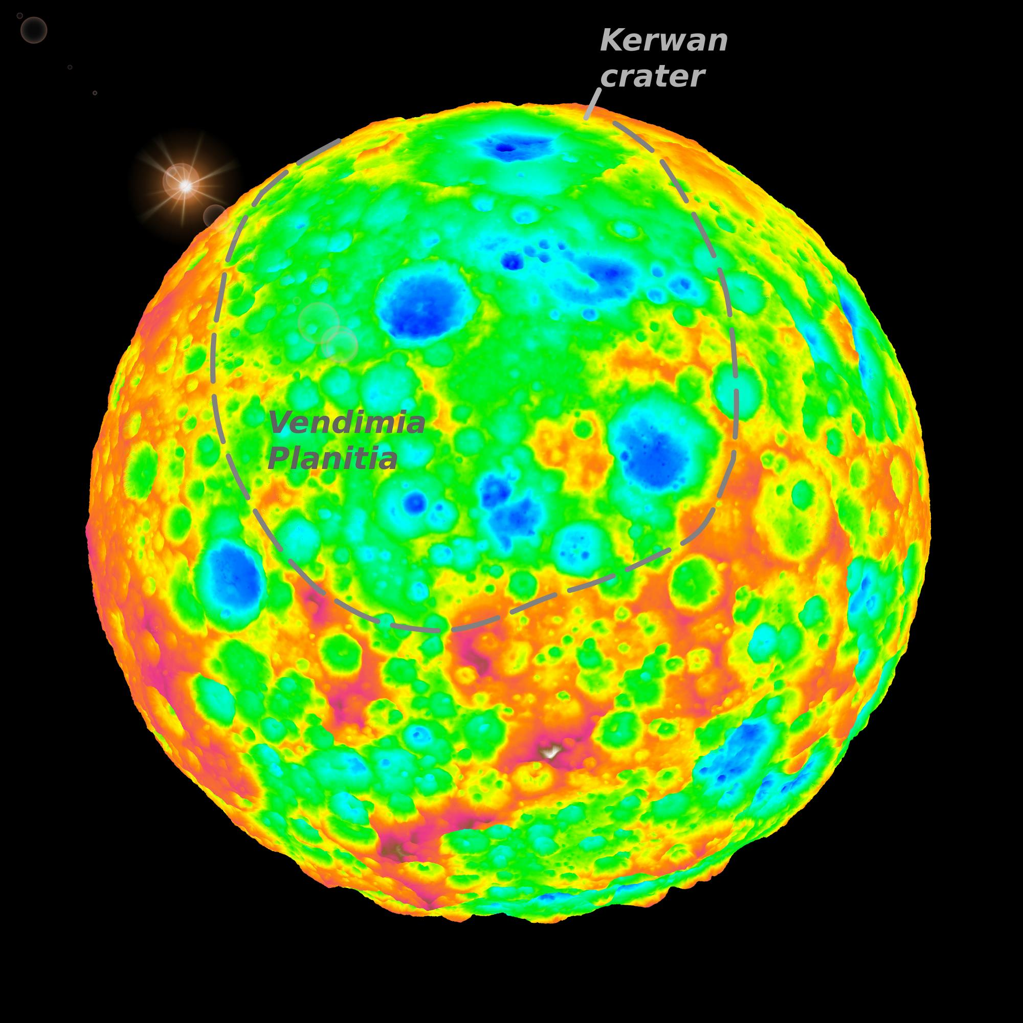 A view of Ceres' largest well-preserved 170-mile (280-km) impact crater, Kerwan, near the limb. The color coding indicates elevation (blue: low; red: high) exaggerated by a factor of 3.