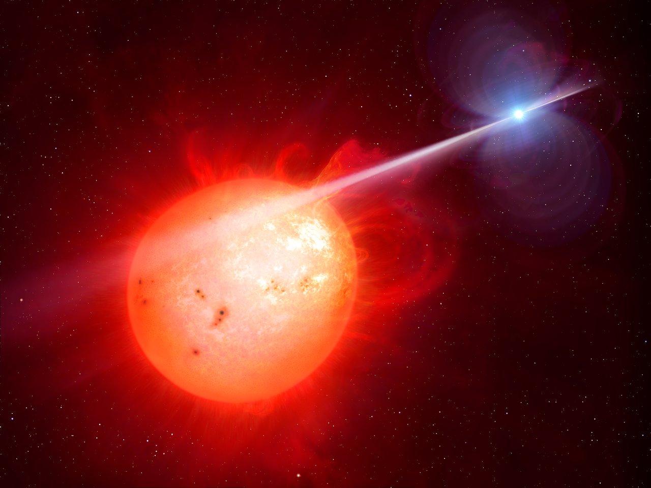 Whip It Good! Star's Radiation Beam Sparks Cosmic Light Show