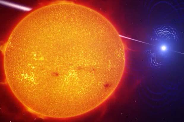 Star Lash! White Dwarf Literally Whipping Red Dwarf  | Video